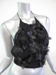 Gucci Black Silk Halter Top w/ Lace Flowers sz S