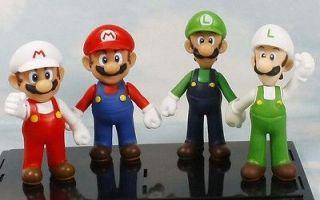 super mario bros mario luigi white 5 figure toy lot of 4