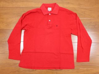 Of Benetton Men Red Polo Shirt Size Small Long Sleeve MADE ITALY