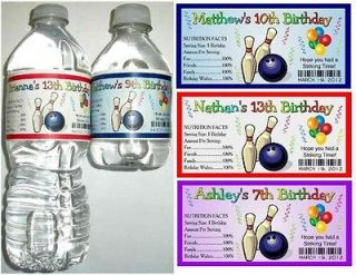 20 BOWLING BIRTHDAY PARTY FAVORS Water Bottle Labels   Glossy