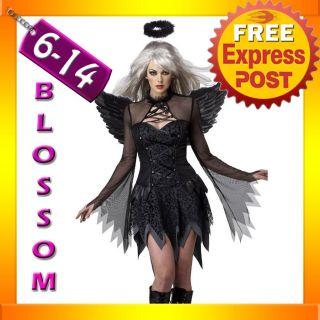 Black Fallen Dark Angel Halloween Fancy Dress Costume + Halo + Wings
