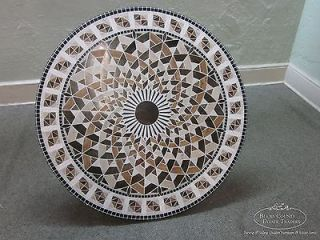 Unusual Round Mosaic Iron Based Coffee Table