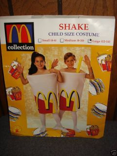 MCDONALDS CHILDS UNISEX SHAKE COSTUME SMALL 4 6 NEW