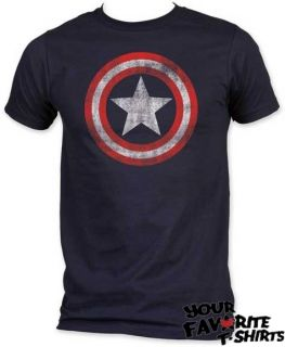 Marvel Comics Captain America Distressed Shield Licensed Adult T Shirt