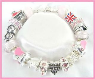 /NANA PINK & SILVER CHARM BRACELET MEMORIES COMPLETE GIFT BOXED