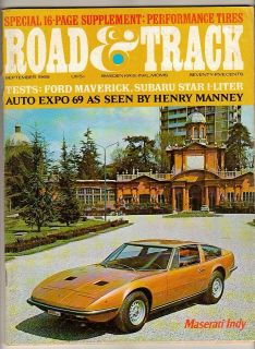Car Magazine Sep 1969 Maserati Indy Ford Maverick Subaru Star Test