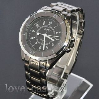 SOKI Mens Analog Quartz Sport Black Metal Wrist Band GIFT Watch 087