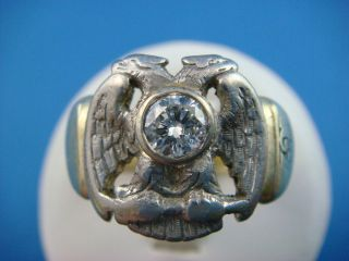 RARE ANTIQUE GREEN GOLD MASONIC RING WITH 0.41 CT. DIAMOND 12.7 GRAMS
