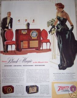 1950 RCA TV Radio Television BLACK MAGIC Original Ad