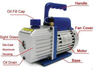 Single Stage 3CFM 1/4HP 5 Pa Rotary Vane Vacuum Pump HVAC Air AC A/C