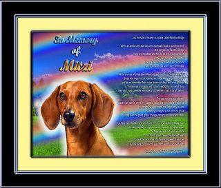 Personalized Dog Memorial Dachshund w/Dogs Name Rainbow Bridge Poem