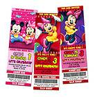 MICKEY MOUSE MINNIE BIRTHDAY PARTY INVITATION TICKET PINK BABIES BABY