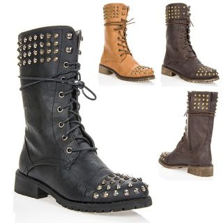 Military Combat Lace Up Studded Mid Calf Boots Black Brown Tan Size