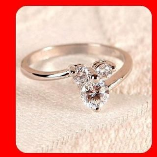 MICKEY MOUSE CZ White Gold GP engagement Ring