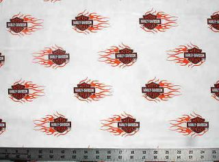 FLAMING SHIELD HARLEY DAVIDSON Logo Quilt Fabric 42 wide x 31 long