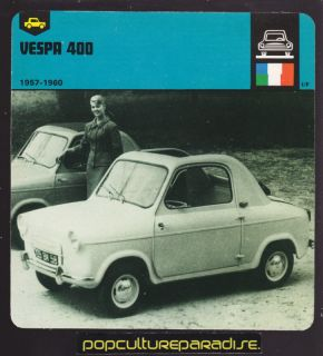 1957 1962 VESPA 400 Car PICTURE 1978 AUTO RALLY CARD