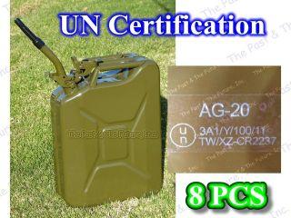 Nato Style 8 PCS Portable Jerry Can 20L Liter Gas Tank w/ Spout