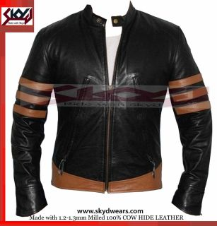 Men Wolverine Origins Biker style Leather Motorcycle black Jacket