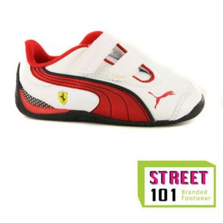 FERRARI DRIFT CAT 4 JUNIOR KIDS SHOES MOTORSPORT TRAINERS RED BLACK