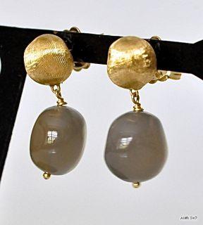 New $770 MARCO BICEGO 18K Gold Gray Moonstone Drop Earrings SALE