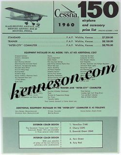 Cessna Aircraft 150 1960 Trainer Airplane and Accessory Price List