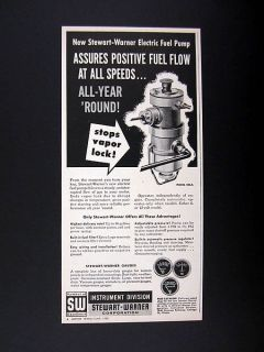 Stewart Warner Electric Fuel Pump 1958 print Ad advertisement