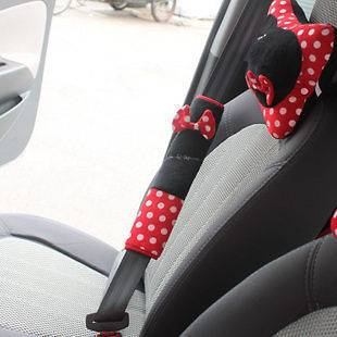 NEW Disney Minnie Mouse Car Seat Belt Pads Covers 2pcs