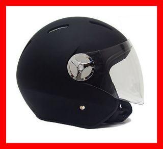 NEW DOT Motorcycle Moped Open Face Helmet Jet Pilot   Black Rubber