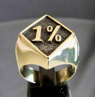 BRONZE OUTLAW BIKER RING 1% ER ONE PERCENT MOTORBIKE CLUB MC DIAMOND