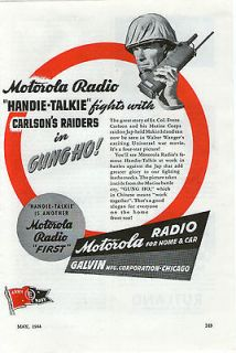 MOTOROLA Radio Handie Talkie 1944 GUNG HO! Movie & Radio Original