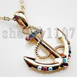 18K Gold GP mixed color Swarovski Austrian Crystal Anchor Necklace