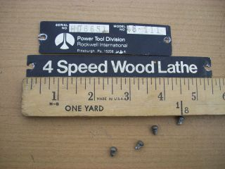 Name & Model # Plates From Delta Rockwell 11 Wood Lathe Model #46
