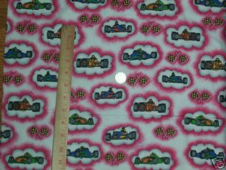 Race Car Checkered Flag Flannel Fabric Quilt Sew BTY