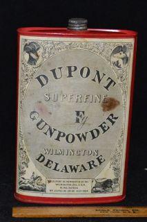 Vintage Dupont Fg Gunpowder Advertising Product Tin With Top Circa