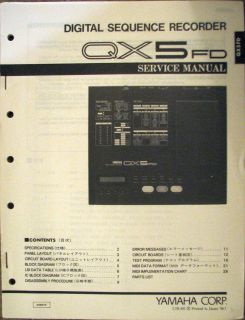 Original Yamaha Service Manual for the QX5FD MIDI Disk Sequencer, QX5