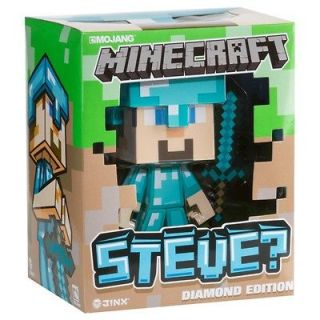 MINECRAFT 6 INCH VINYL DIAMOND STEVE TOY WITH DIAMOND SWORD & HELMET