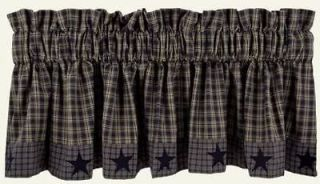 Country Navy Tan Plaid Applique Star Lined Cotton Valance 72x16