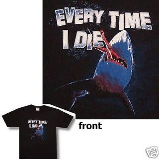 EVERY TIME I DIE! JAWS SHARK OF DEATH BLK T SHIRT LARGE NEW