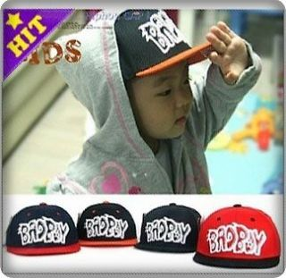 FLAT CAP BABY BAD BOY KIDS HIPHOP HAT BASEBALL PEAK FITTED NEW KC011