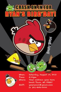 ANGRY BIRDS Printable Birthday Party Invitation File Boy Girl Print