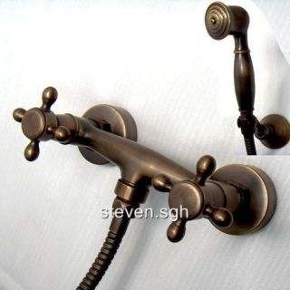 Classic Wall Mounted Antique Brass Mixer Valve Hand Shower Faucet T006