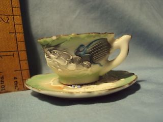 Small ANTIQUE Dragon Moriage Handpainted CUP SAUCER Childs Tea Set