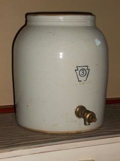 antique STONEWARE 3 gallon WATER COOLER Keystone /vintage crock jug