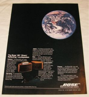 Vintage Bose 901 Direct Reflecting Speakers PRINT AD