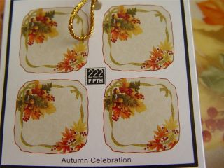 222 Fifth Autumn Celebration Square Appetizer Plates (4) NEW