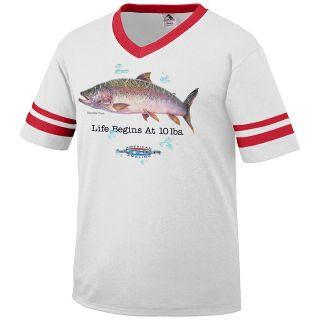 Life Begins at 10 lbs. Rainbow Trout American Angling Mens V Neck