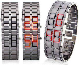 Red LED Flash Samurai Mens Lady Women BLACK Bracelet Watches Gift For