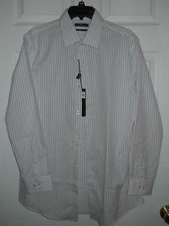 Mens Marc Anthony Dress ShirtSlim FitWhite Blue/Black Stripe