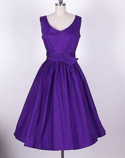 50s Audrey Hepburn Style Purple Dress Size M Pinup Vintage Swing