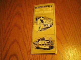 Vintage Brochure & Map Kentucky 1966 Tent & Trailer Camping